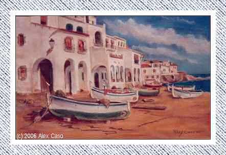 Barcas en pueblo pesquero. Pastel