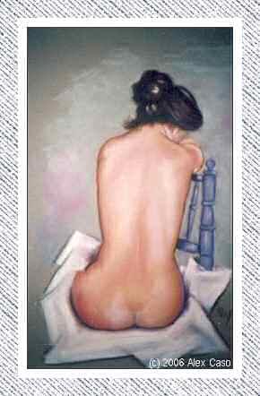 Chica en silla de espaldas. Pastel