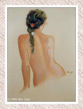 Chica de espaldas con trenza. Pastel