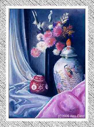 Jarrones chinos y jarron con flores. Pastel