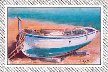 Barca en la Arena. Pastel
