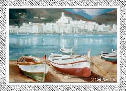 Barcas en la playa de Calella. Pastel