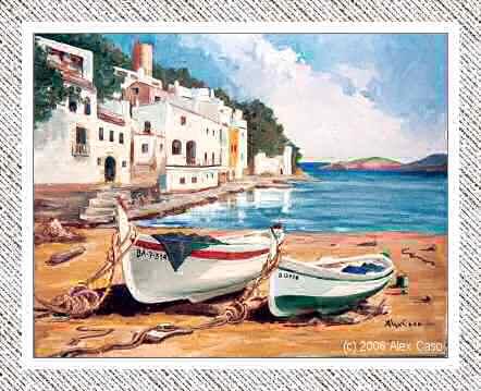 Barcas en la playa. Óleo