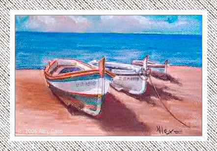 Tres barcas en la orilla. Pastel